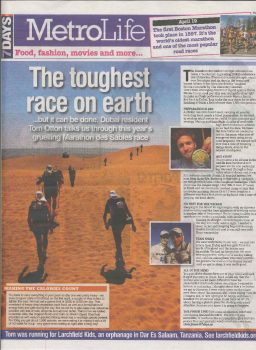 Marathon des Sables in MetroLife Magazine